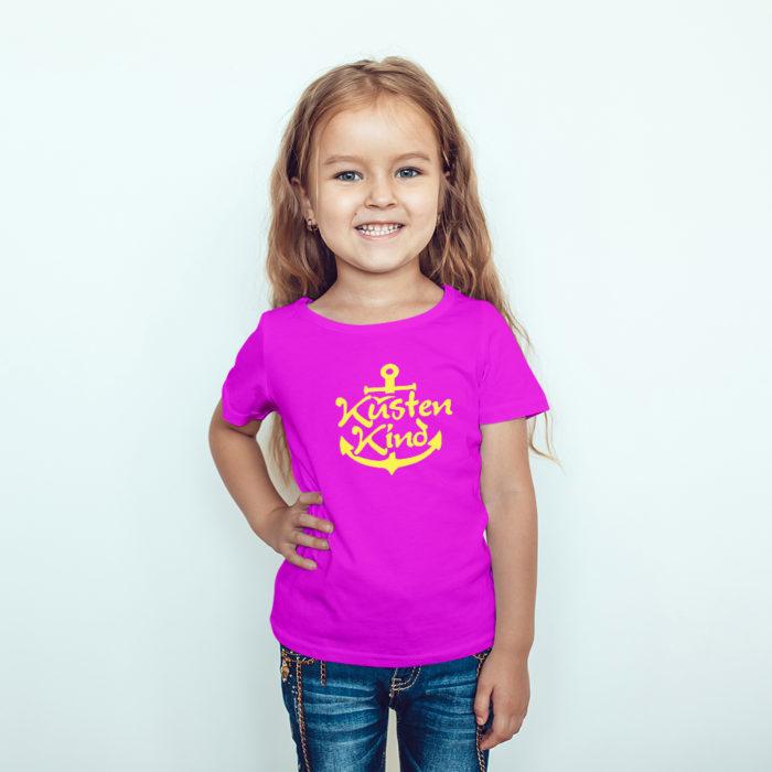 Kindershirt in mit pink mit Motiv Küstenkind mit Anker