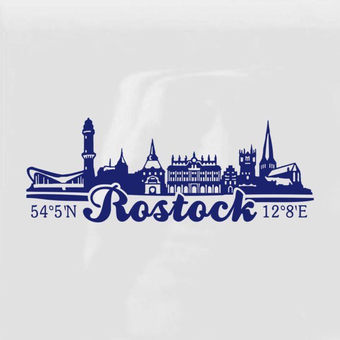 Aufkleber Rostock Skyline blau