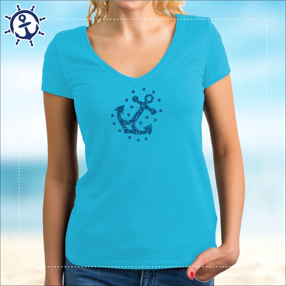 8a1cf0b1703c13 ⚓ Damenshirt mit Glitzer-Druck – strahlender Anker ⚓