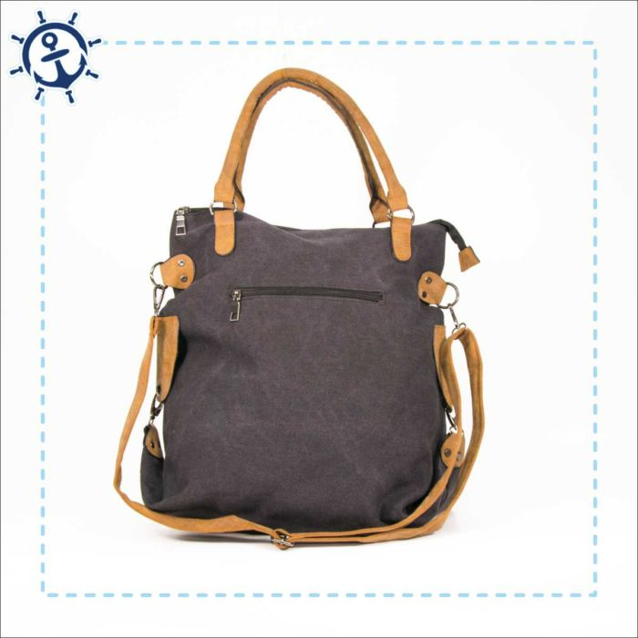 Damen Handtasche Canvas dunkelgrau Rückansicht