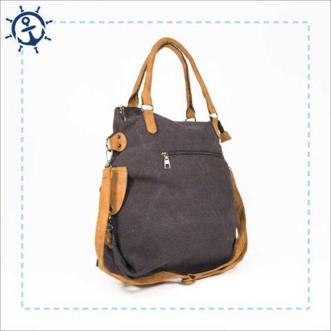 Damen Handtasche Canvas dunkelgrau Seitenansicht