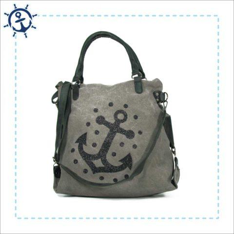 Damen Handtasche Canvas hellgrau Anker
