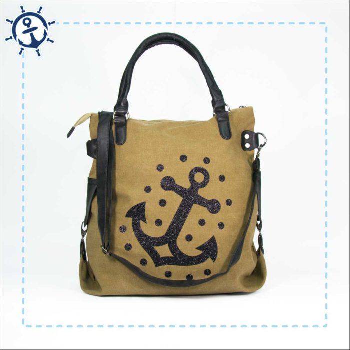 Damen Handtasche Canvas khaki-braun Anker