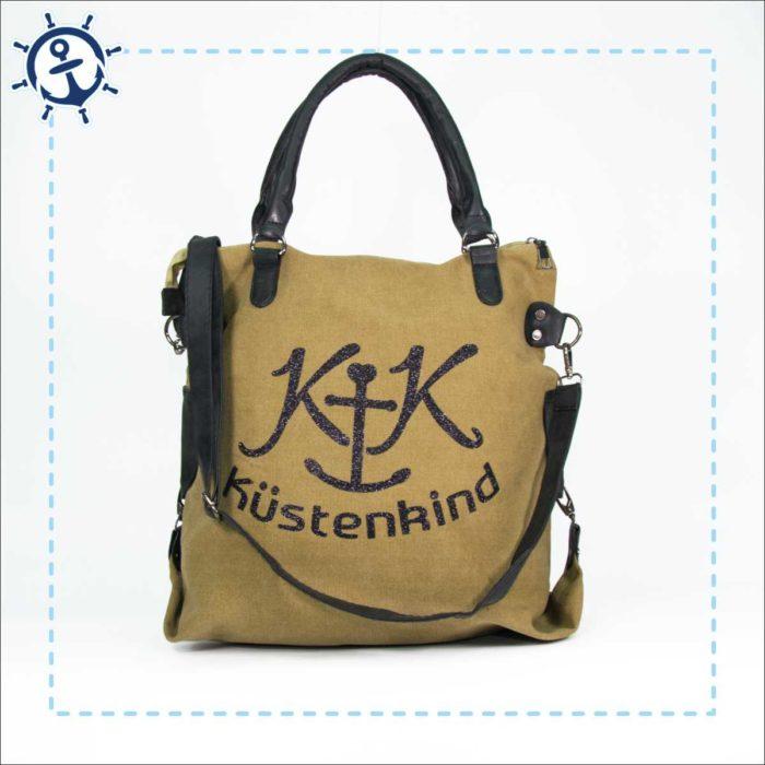 Damen Handtasche Canvas khaki-braun Küstenkind
