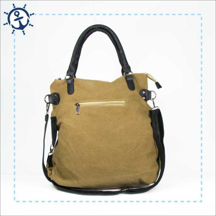 Damen Handtasche Canvas khaki-braun Rückansicht