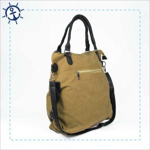 Damen Handtasche Canvas-khaki braun Seitenansicht