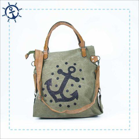 Damen Handtasche Canvas khaki-gruen Anker
