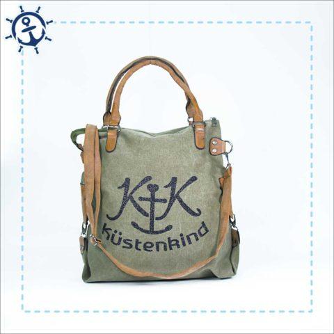 Damen Handtasche Canvas khaki-gruen Küstenkind