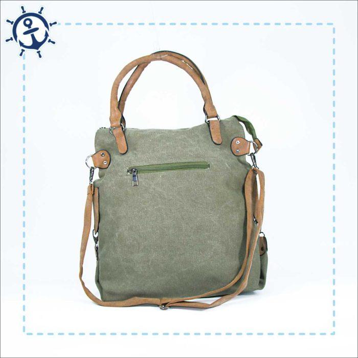 Damen Handtasche Canvas khaki-gruen Rückansicht