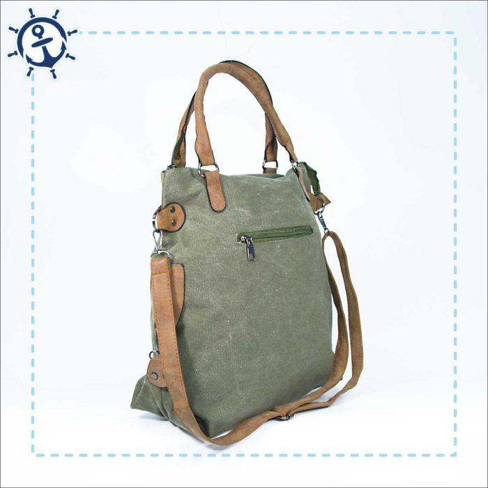 Damen Handtasche Canvas khaki-gruen Seitenansicht