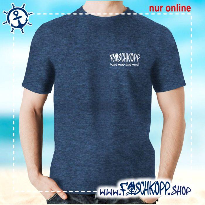 Fischkopp T-Shirt 2016 Druck klein navy meliert