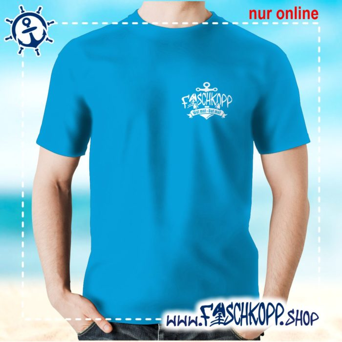 Fischkopp T-Shirt 2017 Druck klein atoll-blau