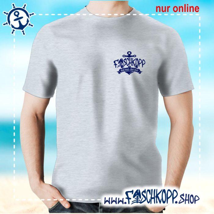 Fischkopp T-Shirt 2017 Druck klein grau meliert
