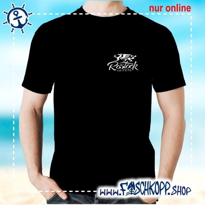 Fischkopp T-Shirt Rostock 1218 Druck klein schwarz