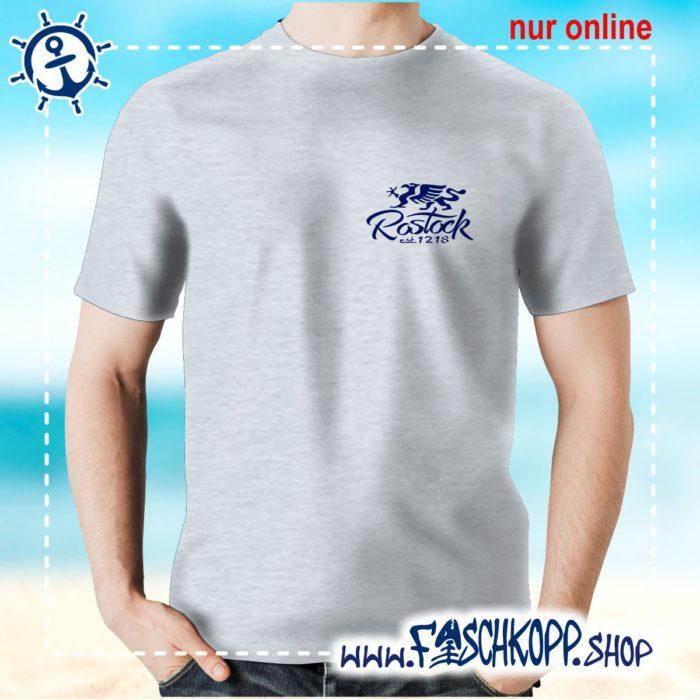 Fischkopp T-Shirt Rostock 1218 Druck klein grau meliert