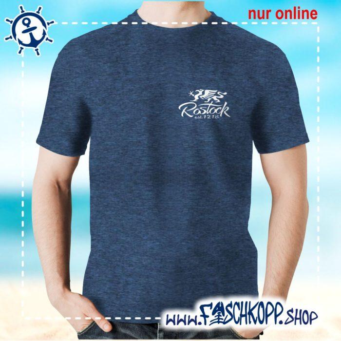 Fischkopp T-Shirt Rostock 1218 Druck klein navy meliert