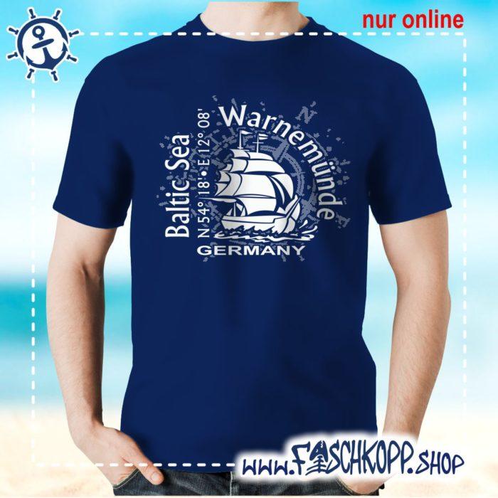 T-Shirt Warnemuende Baltic Sea navy