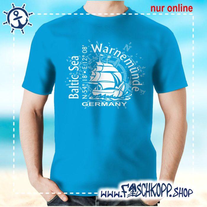 T-Shirt Warnemuende Baltic Sea atoll-blau
