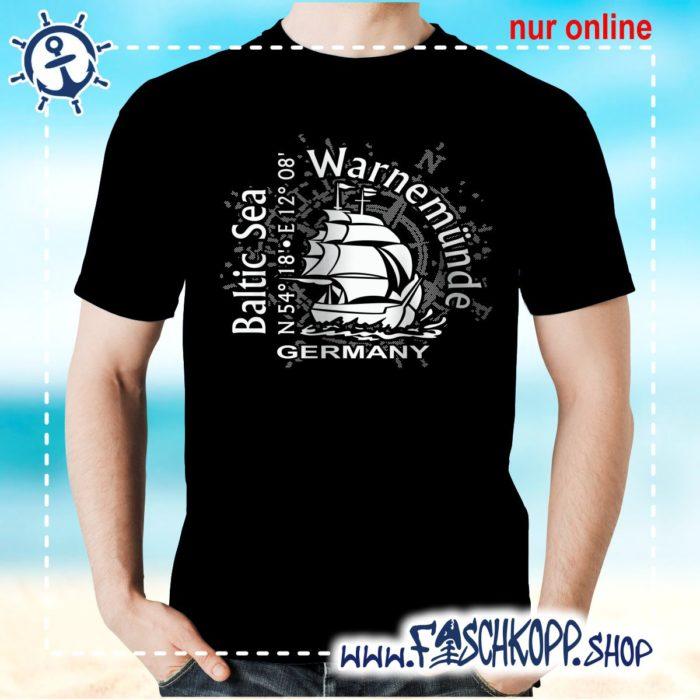 T-Shirt Warnemuende Baltic Sea schwarz