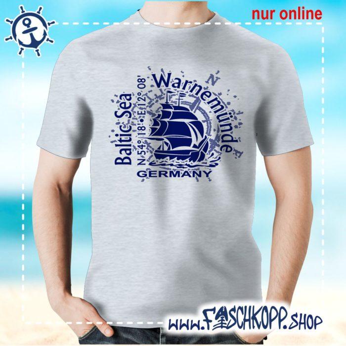 T-Shirt Warnemuende Baltic Sea grau meliert