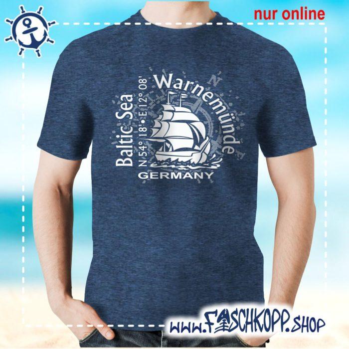 T-Shirt Warnemuende Baltic Sea navy meliert