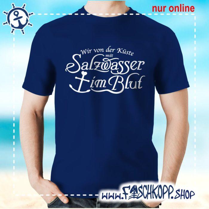 T-Shirt Salzwasser im Blut navy
