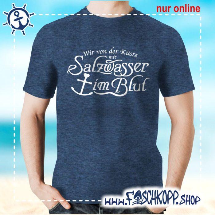 T-Shirt Salzwasser im Blut navy meliert