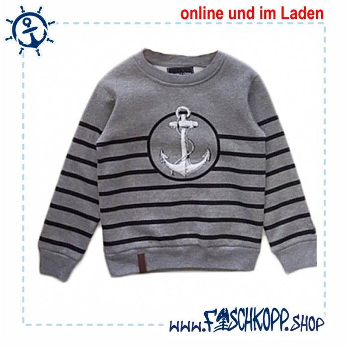 Kinder Sweat Sweatshirt Grau Anker Fischkopp