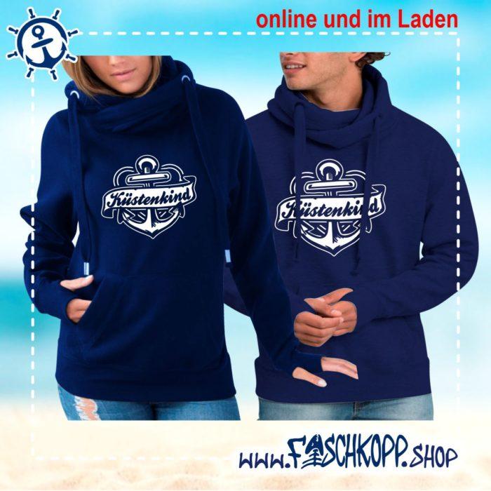 Kreuzkragen Kapuzenshirt Küstenkind Ankerband navy