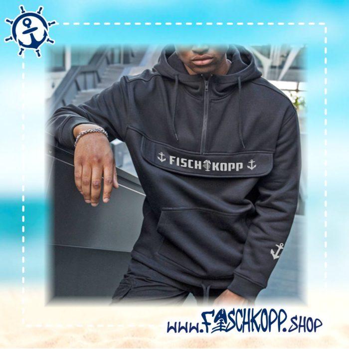 Fischkopp - Kapuzen-Blouson mit Brusttasche blau vorne