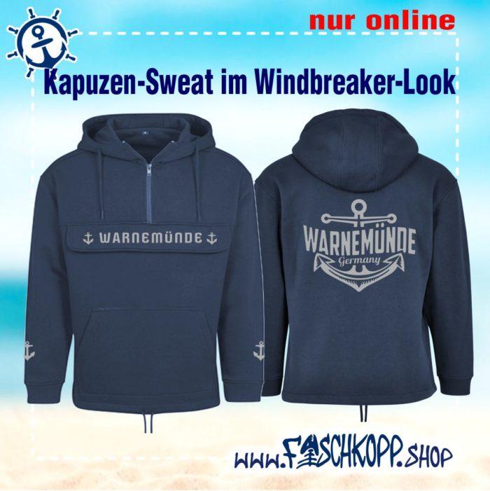 Warnemünde - Kapuzen-Blouson mit Brusttasche blau vorne hinten