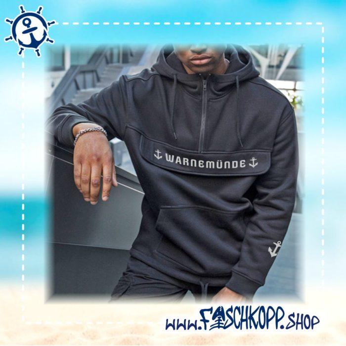 Warnemünde - Kapuzen-Blouson mit Brusttasche blau vorne