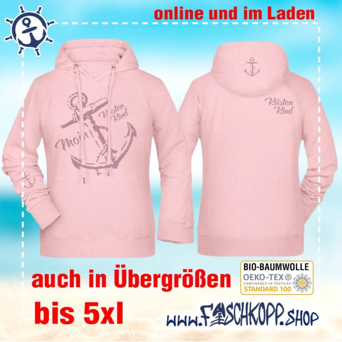 Kapuzen-Shirt Moin-Anker-Küstenkind Shirt rose Druck altrosa vorne hinten