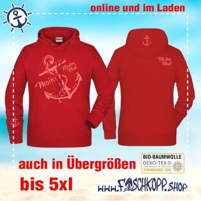 Kapuzen-Shirt Moin-Anker-Küstenkind Shirt rot Druck rose vorne hinten