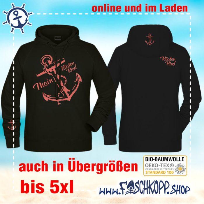 Kapuzen-Shirt Moin-Anker-Küstenkind Shirt schwarz Druck rose vorne hinten