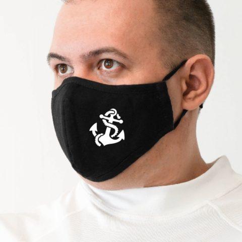 Maske m schwarz Anker weiß