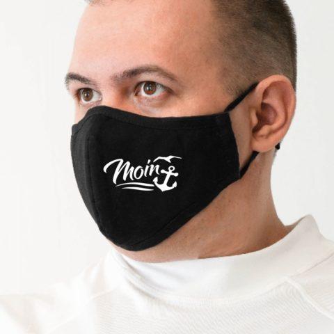 Maske m schwarz Moin weiß