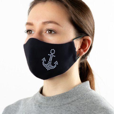 Maske schwarz mit Strass-Anker light-aqua