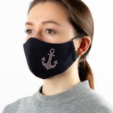 Maske schwarz mit Strass-Anker rose-rot