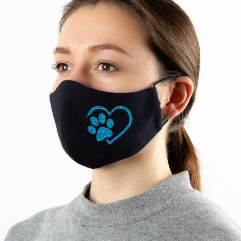 Maske schwarz Tierliebe blau-glitzer