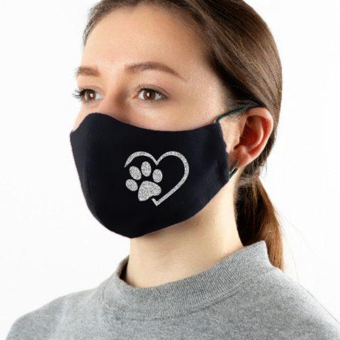 Maske schwarz Tierliebe silber-glitzer