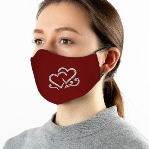 Maske weinrot 2 Herzen silber-glitzer