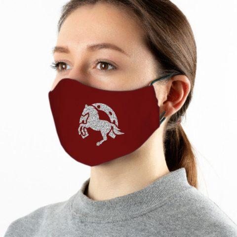 Maske weinrot Pferdeliebe silber-glitzer